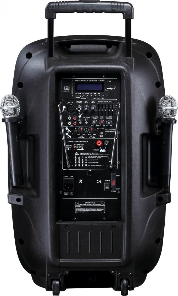 Active Speaker System  DJ trolley battery  with VHF Wireless Microphones