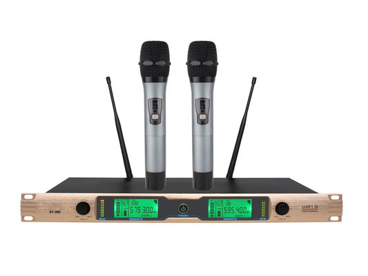 China Dual Channel UHF Wireless Microphone System for KTV and recreation room  All Metal ST-360 supplier