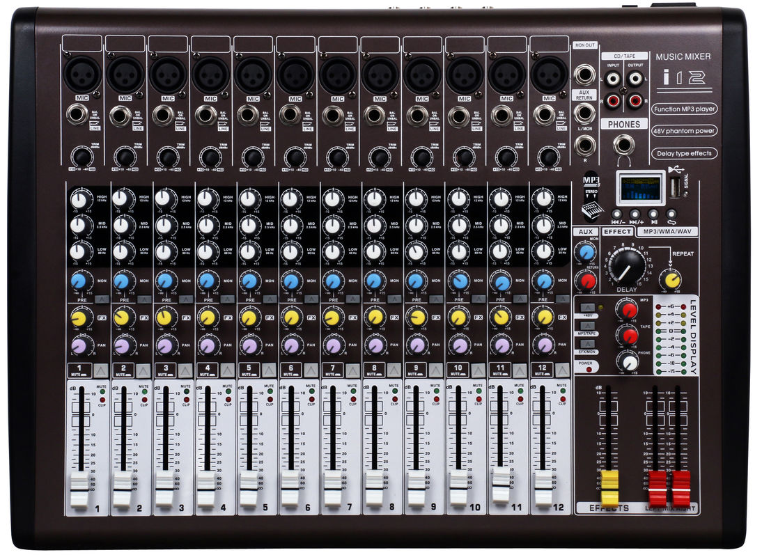 Professional Audio Mixer 12 Channel Dj Music Mixer With