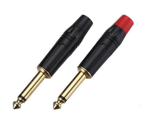 Professional Audio Cable Connectors 6.35mm Jack Plug ZL601 With Gold Front Rod